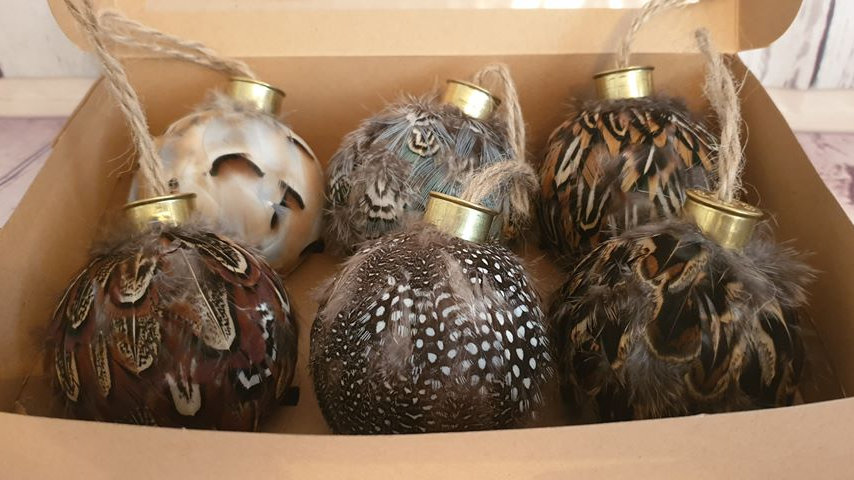 Feather Baubles Set of 6