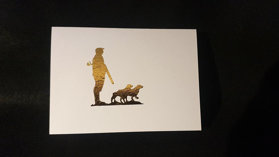 Man & Dogs Greetings Card 2