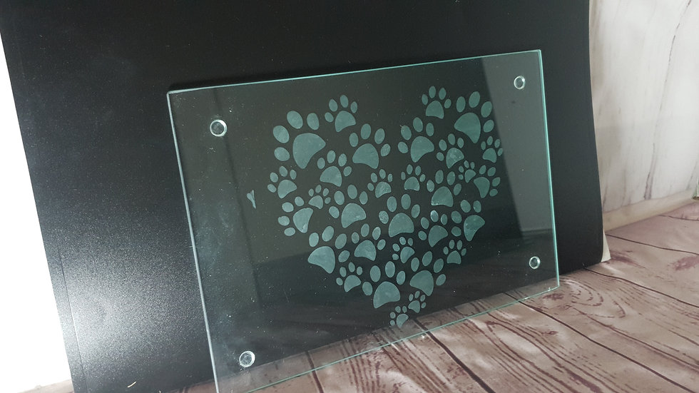 Pawprint Heart Chopping Board