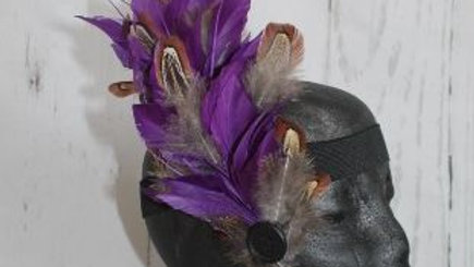 Purple Splayed Feather Facinator