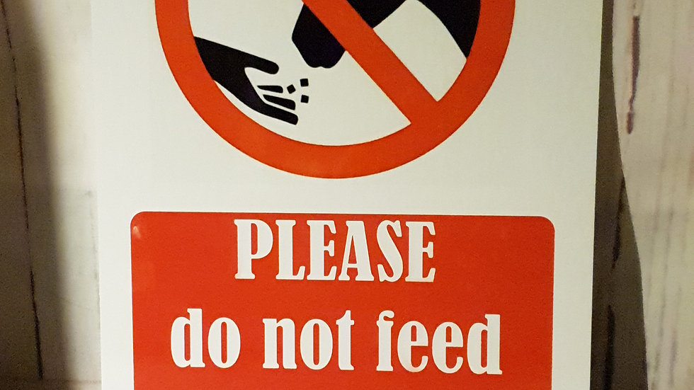"""""""Do not feed"""" signs (A5)"""