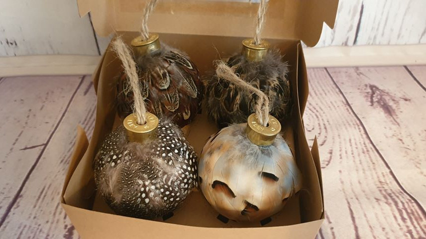 Feather Baubles Set of 4 (Multi Bird)