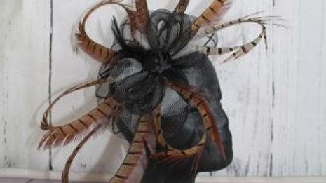 Black & White Circled Pheasant Feather Facinator