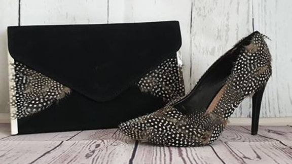 Guinea Fowl Feather Bag & Shoe Set