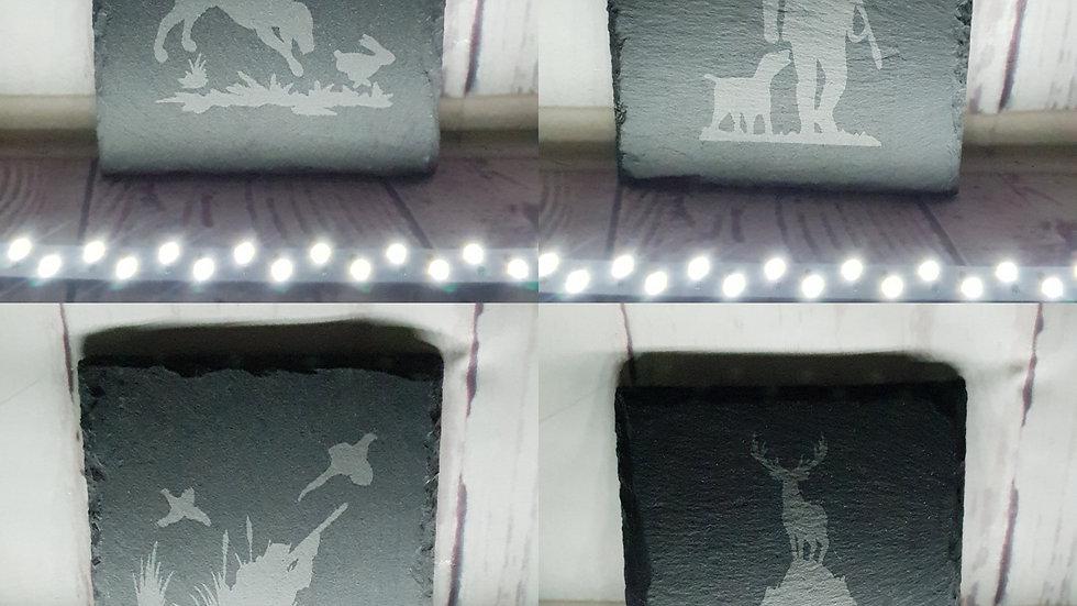 Glass & Slate Etched Coasters (Set of 4)