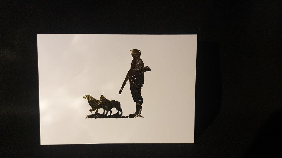 Man & Dogs Greetings Card