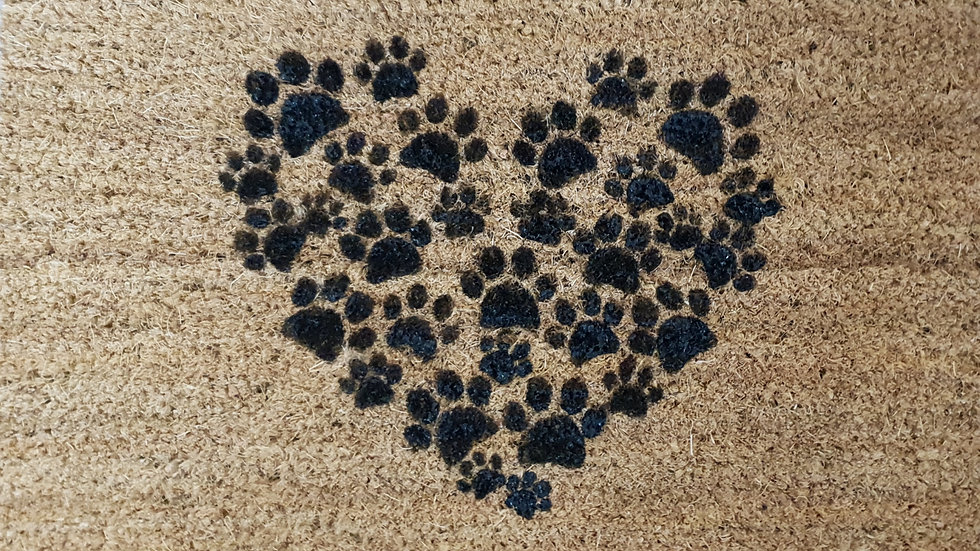 Heart Pawprint Door Mat