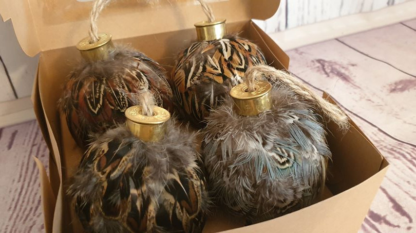 Feather Baubles Set of 4 (Pheasant)