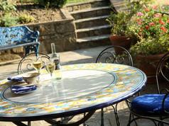 Alfresco dining outside kitchen