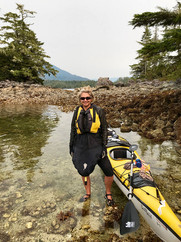 Marie sea kayaking off Vancouver Island