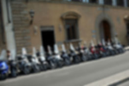 Motorcycles parked, Florence, Tuscany
