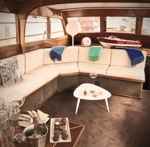 Luxury details aboard our private vintage and legendary motor yacht on the Seine