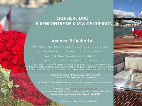 Célébrez la Saint Valentin offrez la croisière Duo Kim & Cupidon sur la Seine