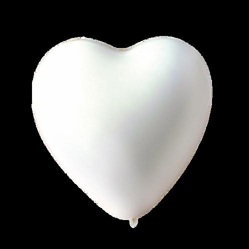 Ballons Coeur Blanc x 5
