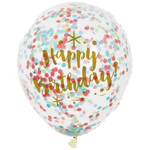 Ballons Confettis Happy Birthday Multi x 5
