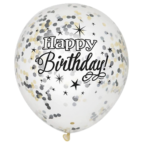 Ballons Confettis Happy Birthday Noir x 5