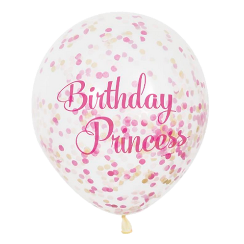 Ballons Confettis Birthday Princess x 5