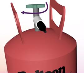 Le robinet de la bonbonne d'hélium s'ouvre
