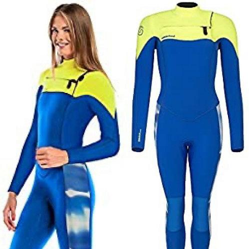 GlideSoul Women's 5mm Full Wetsuit Blue/Lemon Front zip SMALL