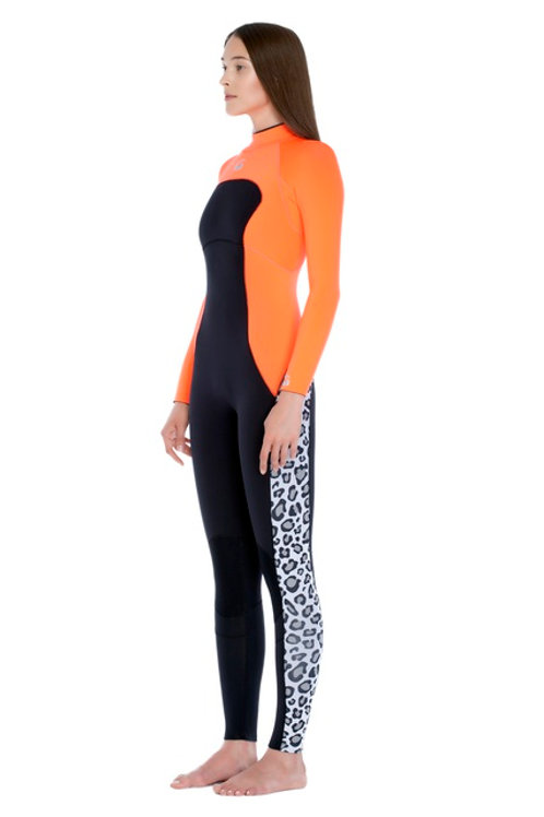 GLIDESOUL 3 MM FULL WETSUIT BLACK AND ORANGE BACK ZIP