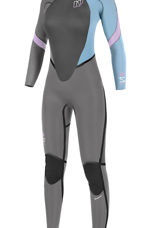 NP Serene Back Zip 5/4/3 Wetsuit-Grey/light blue. ON SALE!