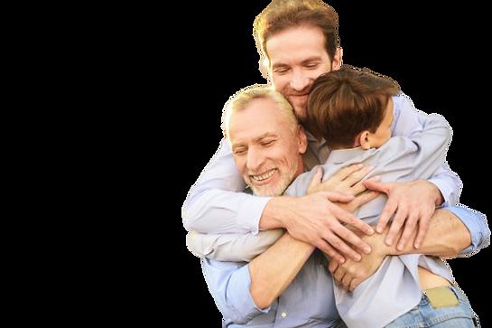 son-grandson-old-man-hugs-family-meeting