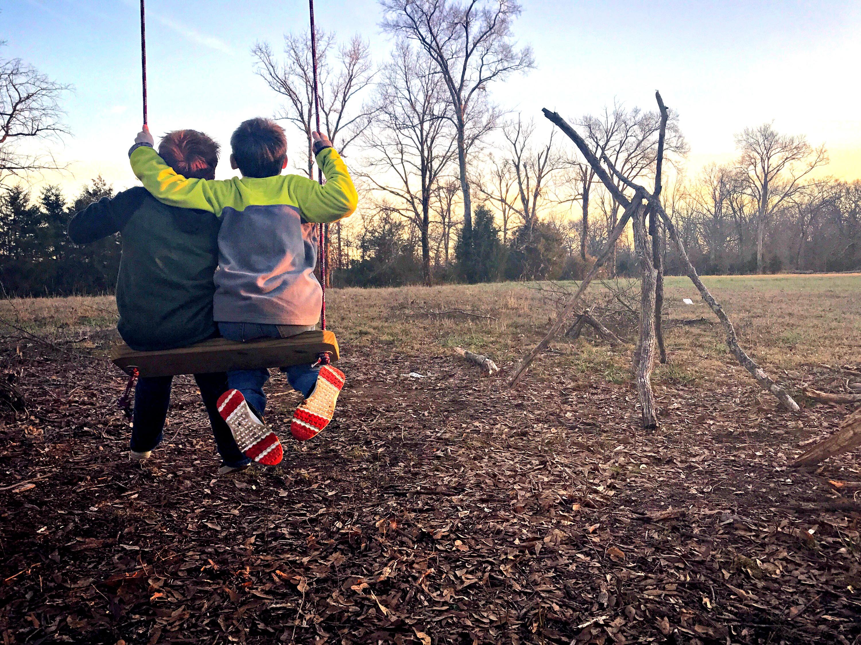 Boys on swings 2