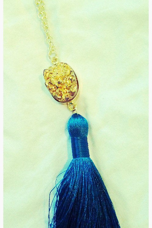 Gold Druzy Tassel JA Necklace