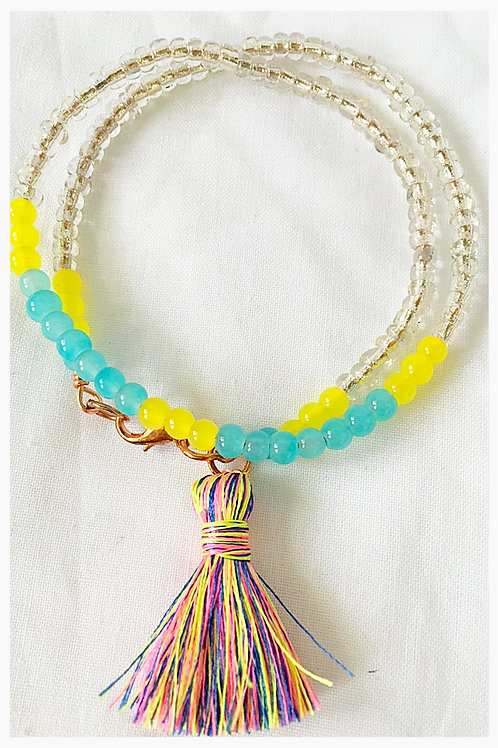 Clear Yellow and Aqua Bead Tassel JA Bracelet