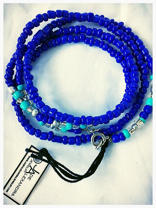 Blue, Turquoise and Silver Beaded JA Wrap Bracelet