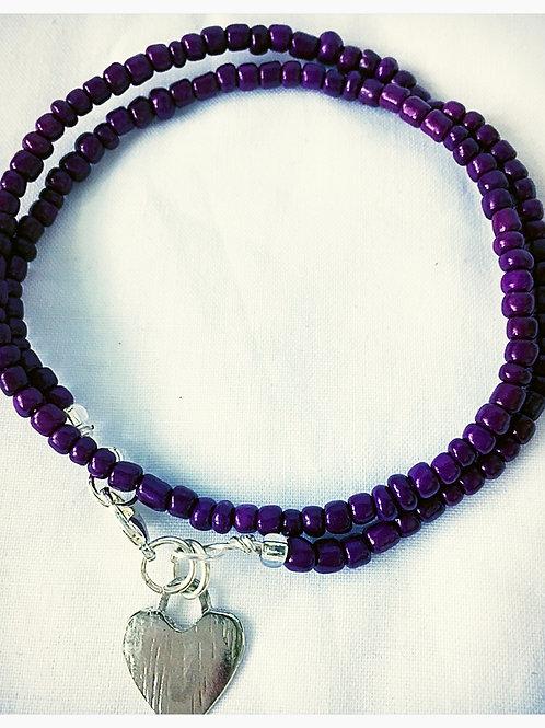 Purple Beaded & Heart Charm JA Bracelet