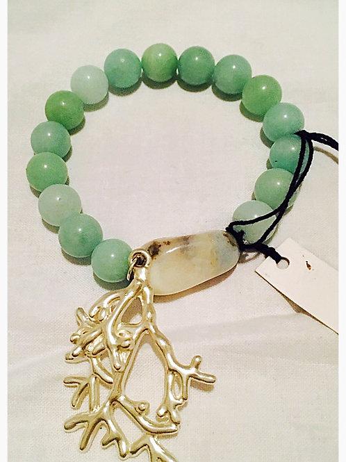 Aventurine Stone and Bead coral Charm JA Bracelet