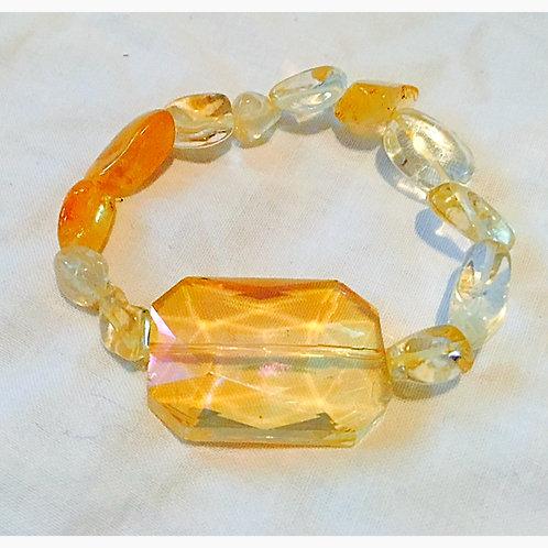 Citrine chip and synthetic Stone JA Bracelet