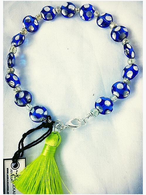 Blue & White Polka Dot Glass Bead JA Bracelet