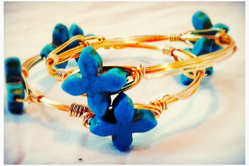 Small Turquoise Delicate Shaped Cross JA Bangle