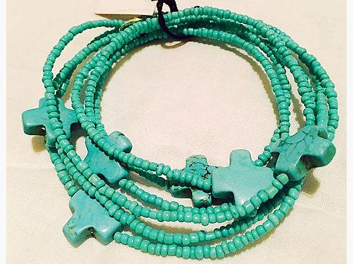 Turquoise Bead & Cross Wrap JA Bracelet
