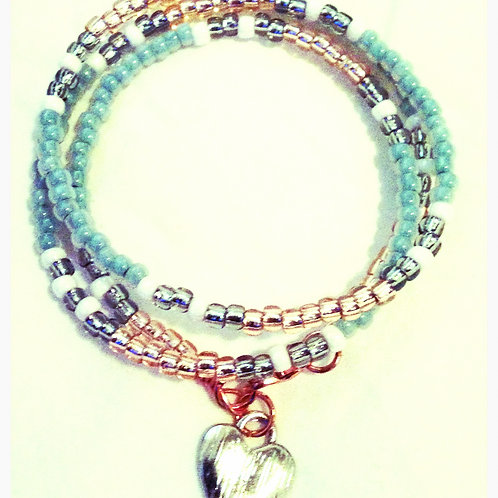 Multi TOHO Bead and Heart Charm JA Bracelet