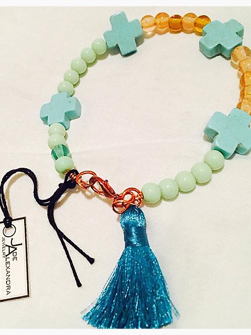 Beaded Turquoise Cross and Tassel JA Bracelet