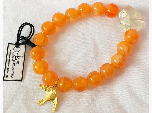 Quartz & Amber Bead & Sparrow Charm JA Bracelet
