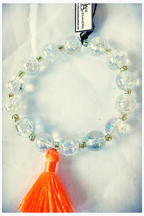 Glass Bead & Tassel JA Beaded Bracelet
