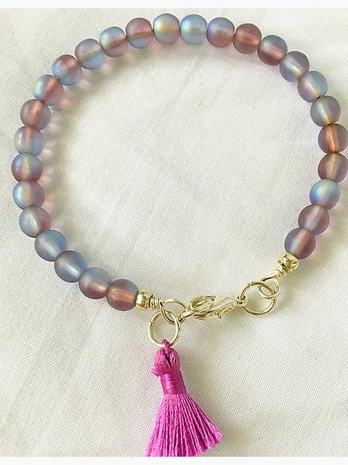 Lavender Bead & Tassel JA Bracelet