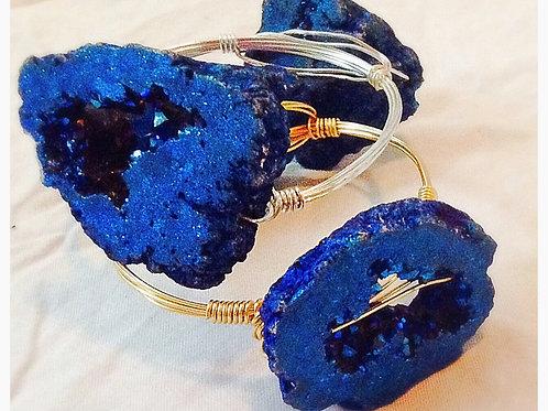 Blue Agate Natural Slice JA Bangle
