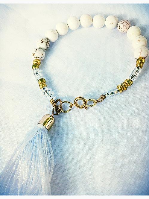 White Howlite & Beaded Tassel JA Bracelet