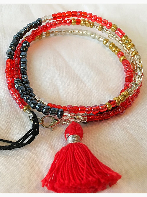 Gold, Red, Clear & Metal Tassel JA Bracelet