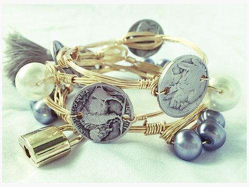 Buffalo/Indian Head Coins & Black Pearls Lock Set