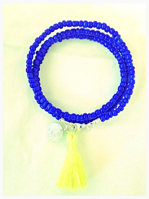 Blue Tassel JA Beaded Bracelet