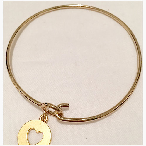 Silver plated Gold Tone Heart Charm Bracelet
