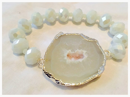 White Druzy with White Glass Faceted Beads