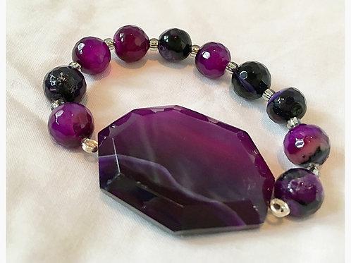 Purple Agate Stone with Purple Agate Beads JA Br
