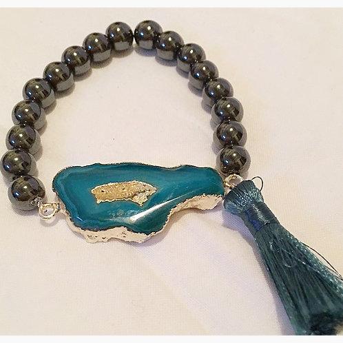 Blue Genuine Geode, Hematite & Tassel JA Bracelet
